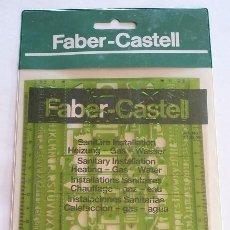 Antigüedades: FABER CASTELL PLANTILLA INSTALACIONES SANITARIAS; AGUA, GAS.. REF 172505. 80 AÑOS 80. DIBUJO TÉCNICO. Lote 103928139