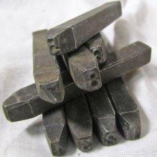 Antigüedades: 9 PUNTEROS DE HIERRO PARA GRABAR NÚMEROS EN METAL. JUEGO COMPLETO. Lote 104064995