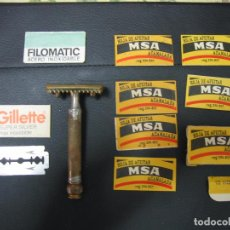 Antigüedades: MAQUINILLA Y HOJAS DE AFEITAR. GILLETTE MARK. MADE IN USA. Lote 104214535