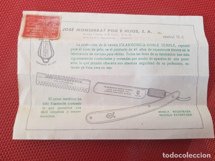 Antigüedades: NAVAJA FILARMONICA JOSE MONSERRAT POU ¨ DOBLE TEMPLE ¨ ESPECIAL PARA CORTE DE PELO - Foto 9 - 104514943