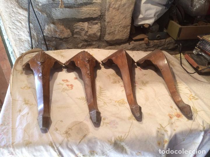 Antiguas 4 pata patas de madera para mueble c comprar for Patas para muebles madera