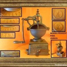 Antigüedades: ENORME MOLINO DE CAFÉ PEUGEOT 2A (MUY RARO) ¡¡¡PARA ZURDOS!!! 100% ORIGINAL. Lote 104649411