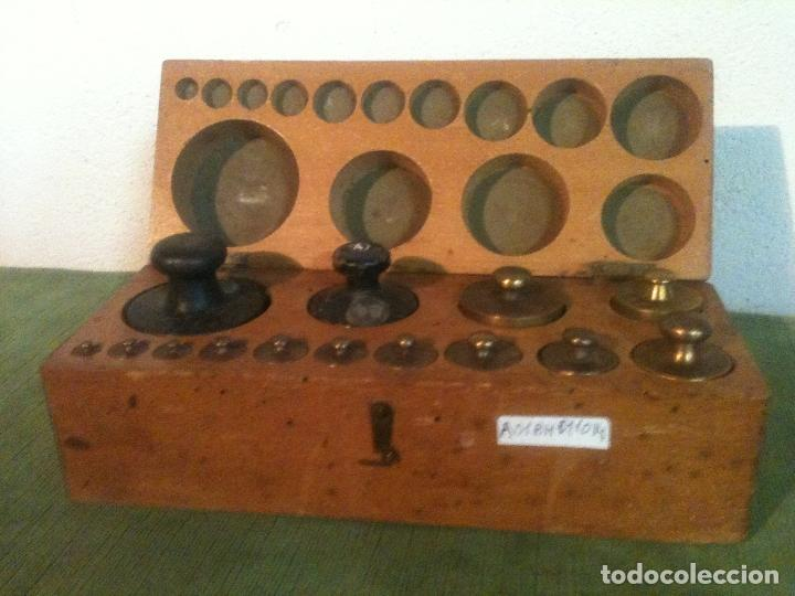 FABULOSO ANTIGUO Y COMPLETO JUEGO DE 14 PESAS DE 1 G A 1000 G (A01) (Antigüedades - Técnicas - Medidas de Peso - Ponderales Antiguos)
