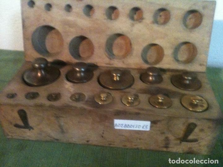FABULOSO ANTIGUO Y COMPLETO JUEGO DE 13 PESAS DE BRONCE DE 1G A 500G (A02) (Antigüedades - Técnicas - Medidas de Peso - Ponderales Antiguos)