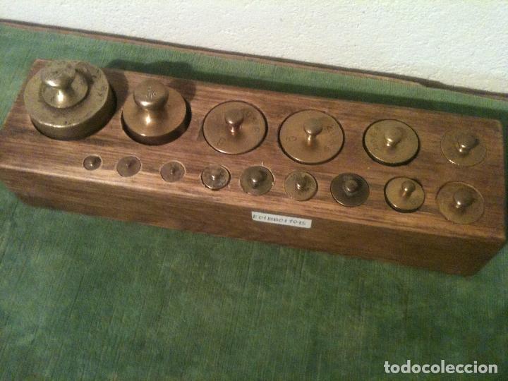Antigüedades: ANTIGUO Y FANTASTICO JUEGO DE 15 PESAS DE BRONCE de 1g a 1000g (E01) - Foto 2 - 104794823