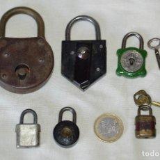 Antigüedades: LOTE ANTIGUO DE 6 CANDADOS VARIADOS - DE METAL Y UNO DE BAQUELITA - VINTAGE - ACEPTO OFERTAS. Lote 104858559