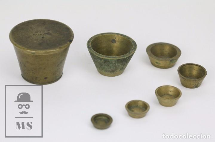 ANTIGUO PONDERAL DE VASOS ANIDADOS FRANCÉS - 500 GRAMOS - BRONCE - SIGLO XIX (Antigüedades - Técnicas - Medidas de Peso - Ponderales Antiguos)