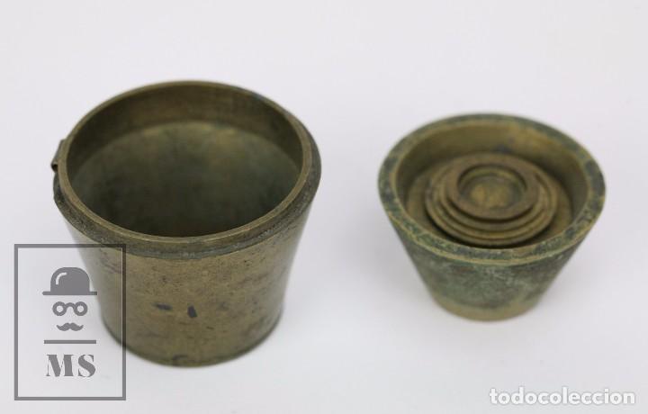 Antigüedades: Antiguo Ponderal de Vasos Anidados Francés - 500 Gramos - Bronce - Siglo XIX - Foto 11 - 104960259