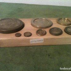 Antigüedades: OFERTON FANTASTICO JUEGO DE 8 ANTIGUAS PESAS DE BRONCE DE 1/4 OZ A 32 OZ (2LIBRAS) (W01). Lote 105129275
