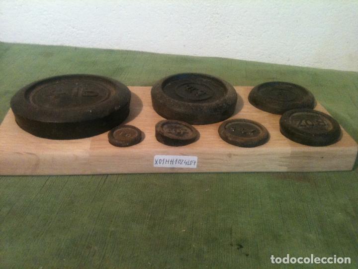 Antigüedades: OFERTON BONITO JUEGO DE 7 ANTIGUASS PESAS DE HIERRO de 1oz a 4lb (X03) - Foto 2 - 105176139