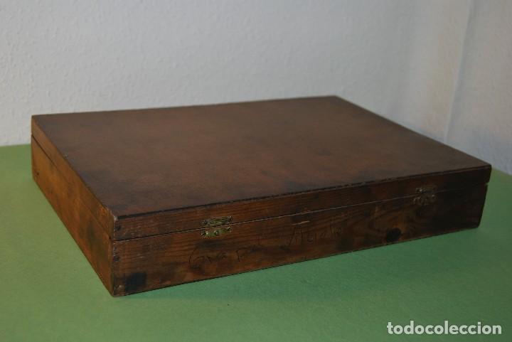 Antigüedades: CAJA DE MADERA PARA RECAMBIOS DE AUTOMÓVIL - TALLER - SEAT, CITROEN, PEGASO, BARREIROS - AÑOS 60 - Foto 7 - 105333867
