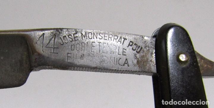 Antigüedades: NAVAJA ANTIGUA FILARMONICA DOBLE TEMPLE JOSE MONTSERRAT POU 14 CON CAJA (VER IMAGENES) - Foto 4 - 105508423