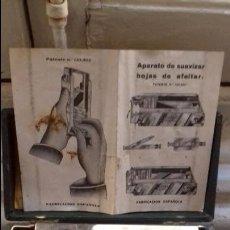 Antigüedades: ANTIGUO APARATO PARA AFILAR Y SUAVIZAR LAS HOJAS DE LAS MAQUINAS AFEITAR MARCA EL FENIX URANIA CAJA. Lote 106042851
