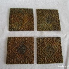 Antigüedades: LOTE DE 4 EMBELLECEDORES DE BRONCE ANTIGUOS 5 CM X 5 CM EMBELLECEDOR JOSE MONTESINOS VALENCIA. Lote 106045383