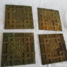 Antigüedades: LOTE DE 4 EMBELLECEDORES DE BRONCE ANTIGUOS 7 CM X 7 CM EMBELLECEDOR JOSE MONTESINOS VALENCIA. Lote 106045667