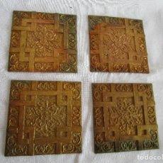 Antigüedades: LOTE DE 4 EMBELLECEDORES DE BRONCE ANTIGUOS 7 CM X 7 CM EMBELLECEDOR JOSE MONTESINOS VALENCIA. Lote 106045735