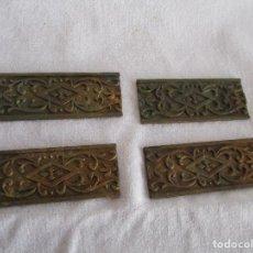 Antigüedades: LOTE DE 4 EMBELLECEDORES DE BRONCE ANTIGUOS 2 CM X 5 CM EMBELLECEDOR JOSE MONTESINOS VALENCIA. Lote 106045971