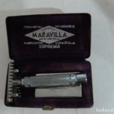 Antigüedades: MAQUINILLA AFEITAR ANTIGUA MARCA MARAVILLA COMPLETA. Lote 106074883