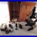 Antigüedades: MICROSCOPIO LEITZ WETZLAR COMPLETO CON OBJETIVOS Y OCULARES. Lote 106588787