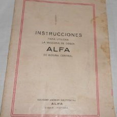 Antigüedades - INSTRUCCIONES PARA UTILIZAR LA MÁQUINA DE COSER ALFA DE BOBINA CENTRAL - 106629479