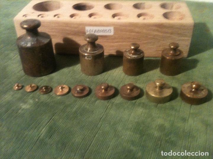 Antigüedades: BONITO TACO DE 13 ANTIGUAS PESAS DE BRONCE DESDE 1G A 500G (F05) - Foto 3 - 106662159