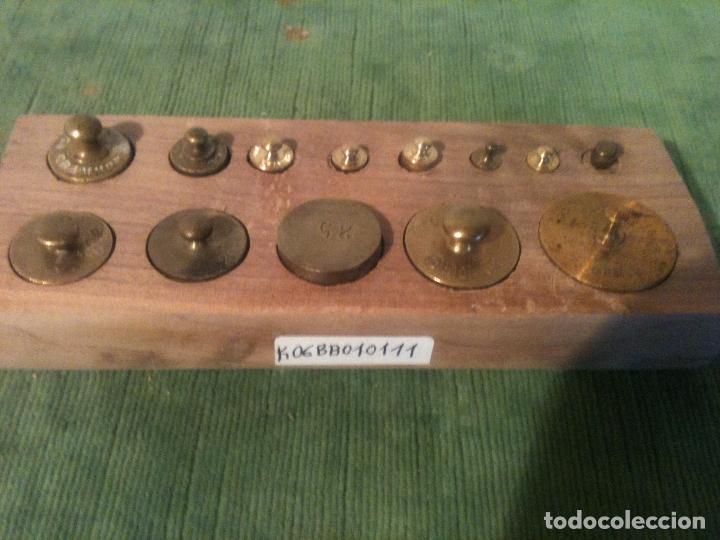 BONITO JUEGO DE 13 ANTIGUAS PESAS DE BRONCE DE 1G A 100G (K06) (Antigüedades - Técnicas - Medidas de Peso - Ponderales Antiguos)