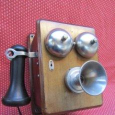 Teléfonos: ANTIGUO TELEFONO BELGA DE MADERA , FABRICADO A PRINCIPIOS DEL SIGLO XX, EXCELENTE CONSERVACION.. Lote 106913411