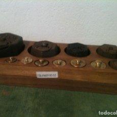 Antigüedades: BONITO JUEGO DE 11 ANTIGUAS PESAS EXAGONALES Y REDONDAS DE 1G A 1 KG (T06). Lote 107015467