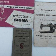Antigüedades: MANUALES MAQUINA DE COSER SINGER Y SIGMA. Lote 107265139