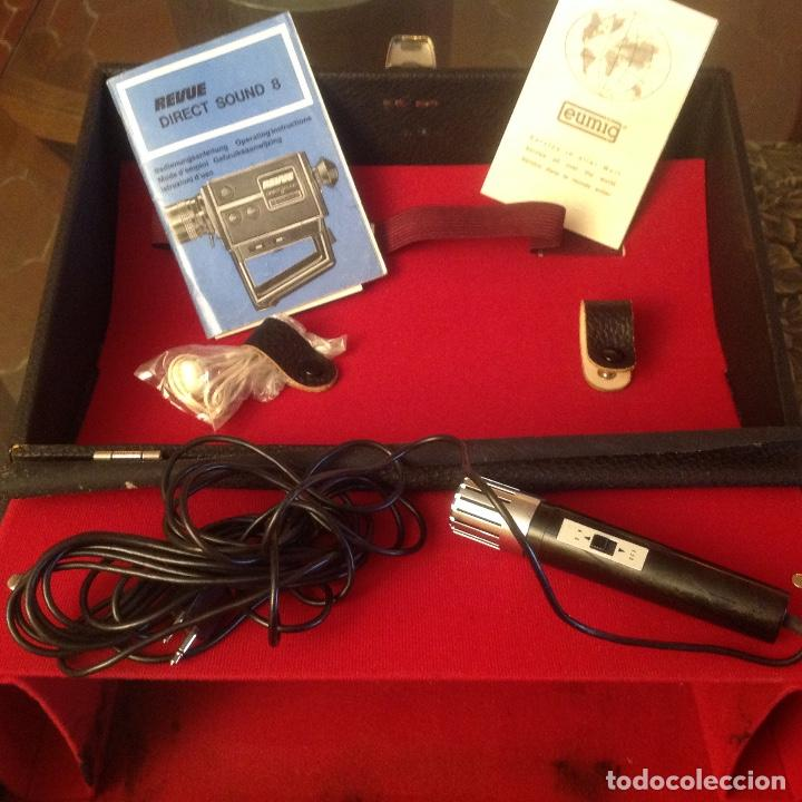 Antigüedades: Tomavistas Eumig Revue direct sound 8, con micrófono , auricular, en su estuche y papeles. Ver fotos - Foto 3 - 107270487