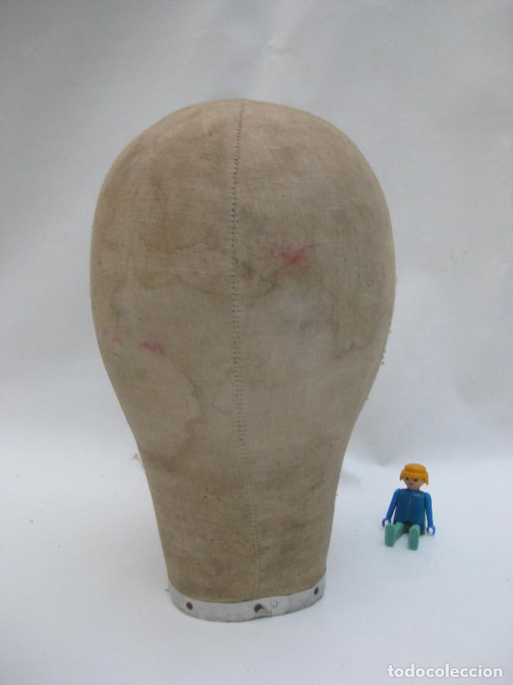 Antigüedades: CABEZA BUSTO MANIQUI ANTIGUA MADERA Y LINO TALLA 56 SOMBRERERIA TIENDA ESCAPARATES DECORACION - Foto 3 - 107338459