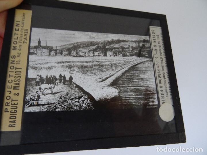 CRISTAL 10 X 8,5 MOLTENI RADIGUET MASSIOT BARCA SEINE MASEARET (Antigüedades - Técnicas - Aparatos de Cine Antiguo - Linternas Mágicas Antiguas)