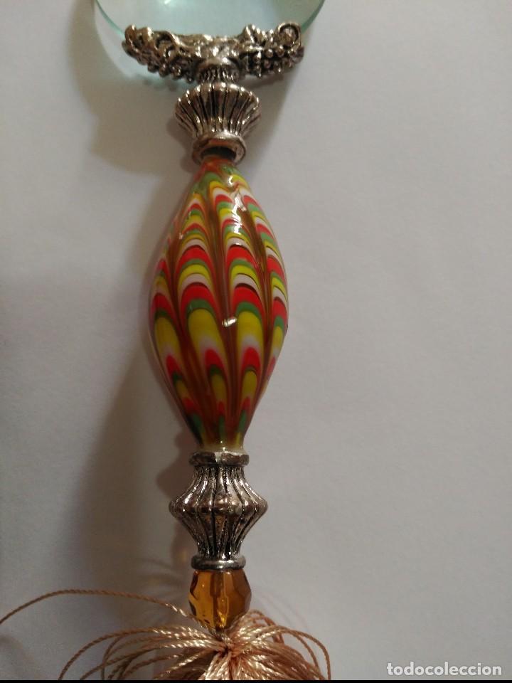 Antigüedades: lupa de sobremesa en metal y cristal - Foto 3 - 107778895