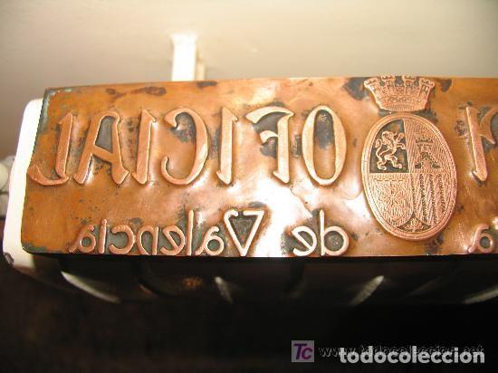 Antigüedades: Placa cobre imprenta Boletín Oficial de la Provincia de Valencia II República - Foto 6 - 107850367