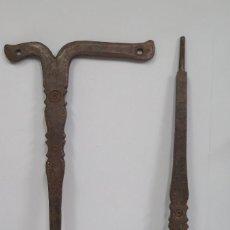 Antigüedades: PAREJA DE PIEZA DE HIERRO FORJADO. SIGLO XIX. USO DESCONOCIDO. Lote 108253519