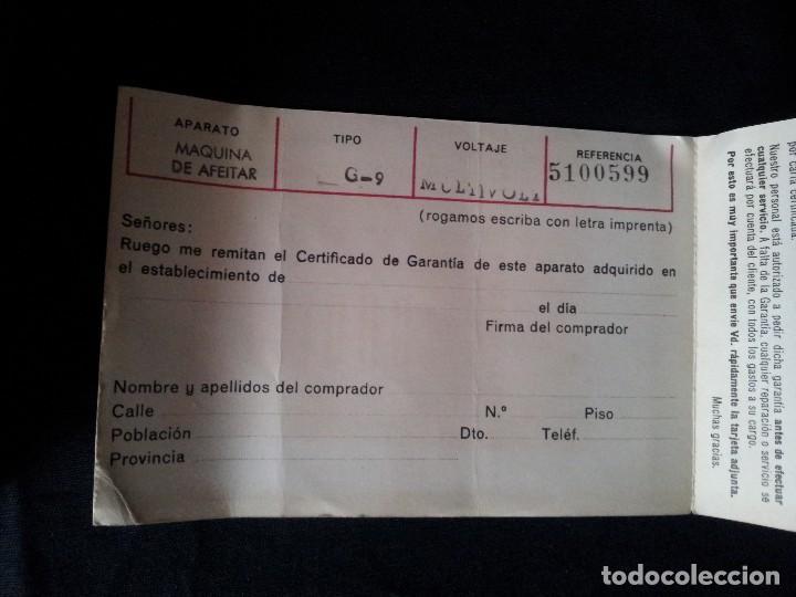 Antigüedades: ANTIGUA MAQUINA DE AFEITAR MARCA SUNBEAM G-9, INTERNATIONAL - MULTIVOLTAJE, FUNCIONANDO - Foto 8 - 108439203