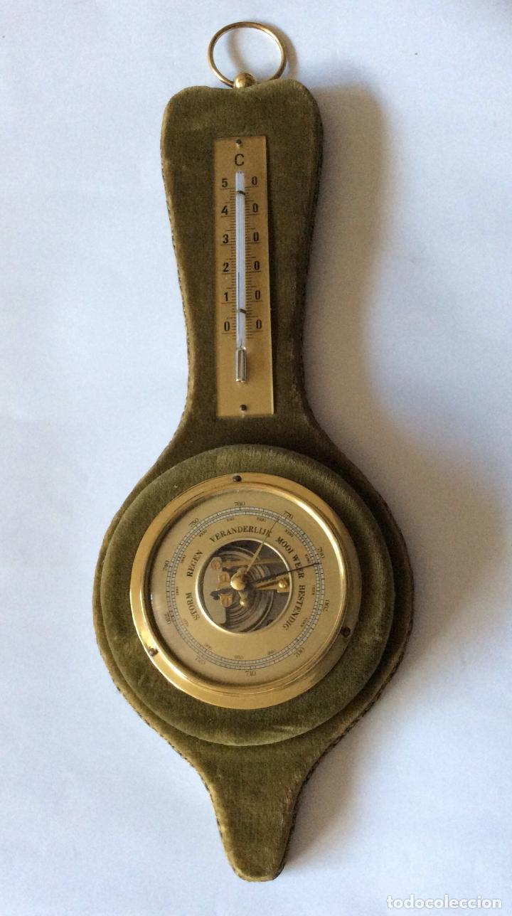 ANTIGUO BARÓMETRO Y TERMÓMETRO CON INSCRIPCIONES EN HOLANDÉS ,IDEAL DECORACIÓN (Antigüedades - Técnicas - Otros Instrumentos Ópticos Antiguos)