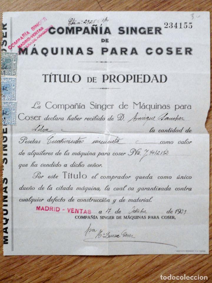 TÍTULO DE PROPIEDAD COMPAÑÍA SINGER DE MÁQUINAS PARA COSER - AÑO 1929 (Antigüedades - Técnicas - Máquinas de Coser Antiguas - Singer)