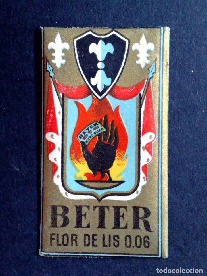 Antigüedades: HOJA DE AFEITAR ANTIGUA-BETER-MANO NEGRA-FLOR DE LIS-VINTAGE - Foto 3 - 109145055