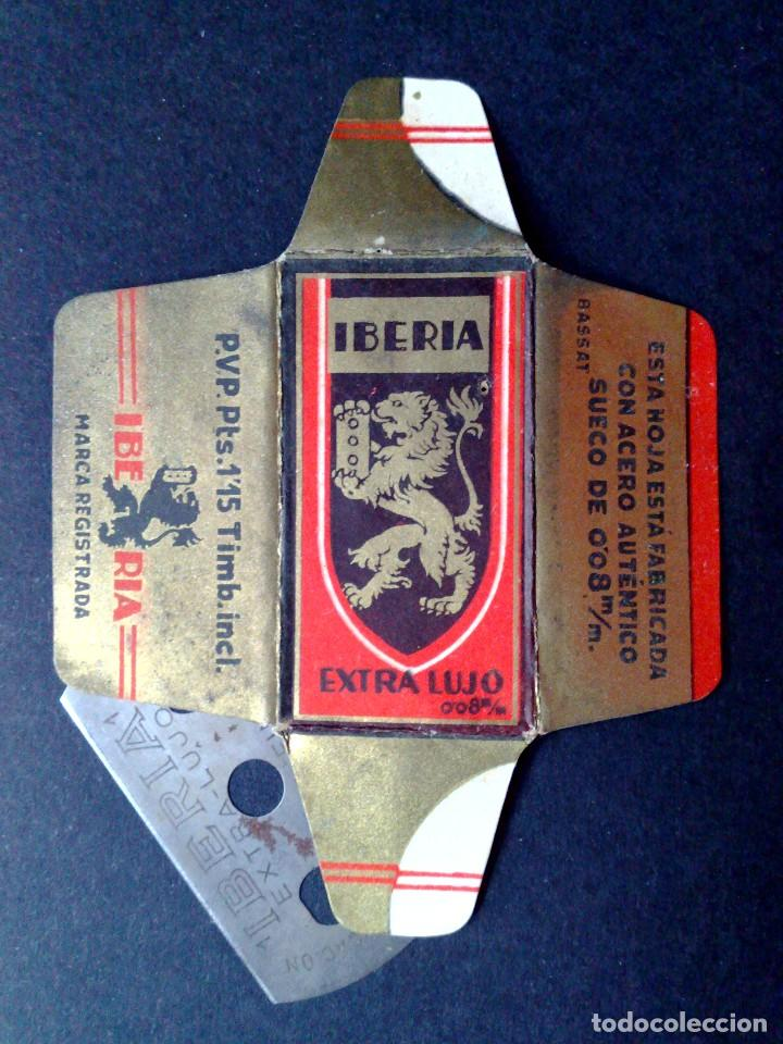 HOJA DE AFEITAR ANTIGUA-IBERIA EXTRA LUJO-VINTAGE (Antigüedades - Técnicas - Barbería - Hojas de Afeitar Antiguas)