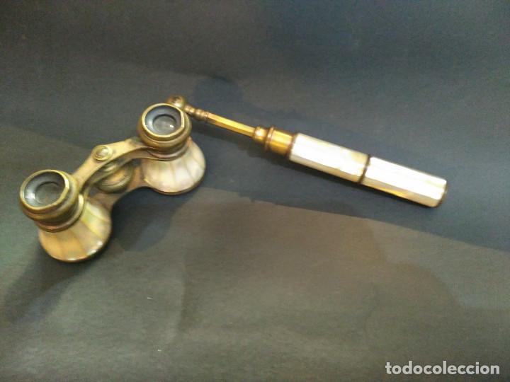 Antigüedades: BINOCULARES 0 IMPERTINENTES ANTEOJOS TEATRO PRISMATICOS LUJO NACAR BRONCE FUNCIONALES 171€ - Foto 2 - 109535367