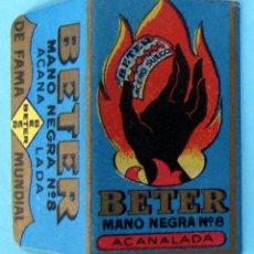 Antigüedades: HOJA DE AFEITAR BETER. MANO NEGRA Nº 8. ACANALADA. 85 CTS. ESPAÑOLA. FÁBRICAS REUNIDAS. S.A.. Lote 109571711