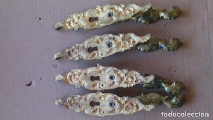 Antigüedades: 4 PRECIOSOS TIRADORES PUERTA ARMARIO - Foto 8 - 110015383
