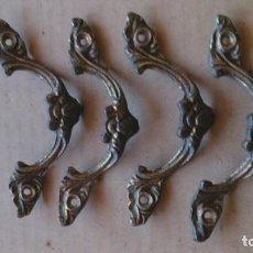 Antigüedades: 4 PRECIOSOS TIRADORES CAJON. Lote 110025555