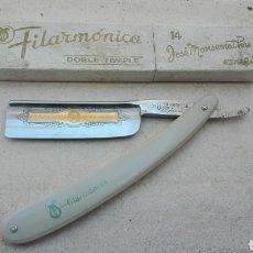 Antigüedades: NAVAJA DE BARBERO FILARMÓNICA DOBLE TEMPLE 14. Lote 110131228