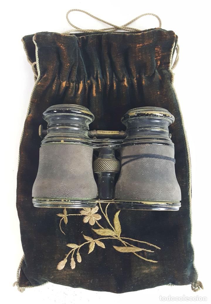 BINOCULARES DE OPERA. FUNDA DE TELA. TEATRO CAMPO MARINA. SIGLO XIX. (Antigüedades - Técnicas - Instrumentos Ópticos - Binoculares Antiguos)