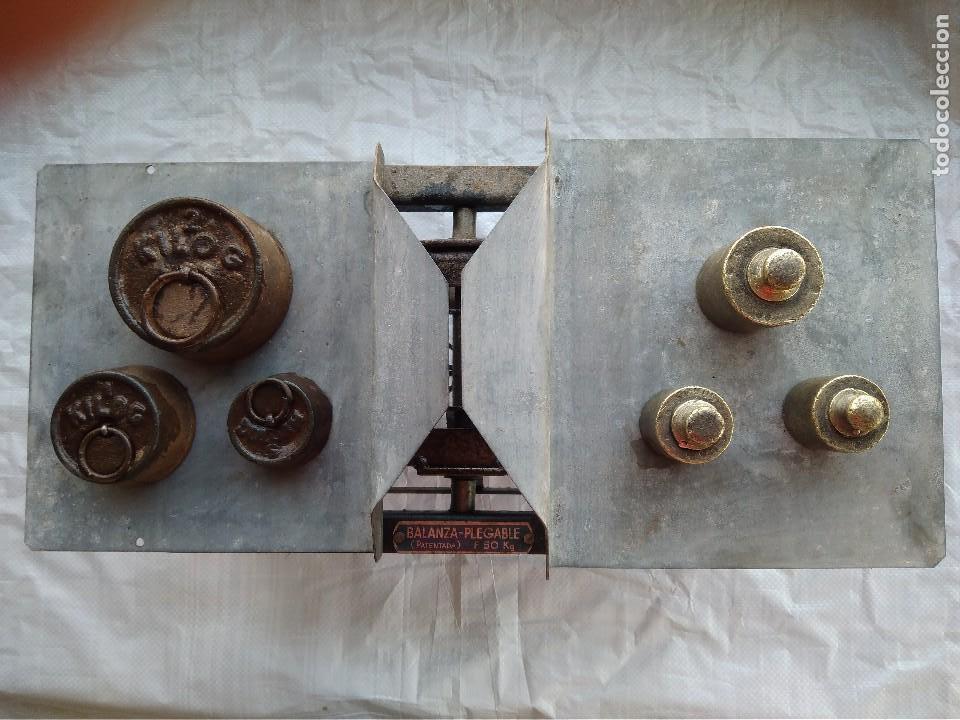 BALANZA PLEGABLE (PATENTADA) FUERZA 50KG (Antigüedades - Técnicas - Medidas de Peso - Balanzas Antiguas)