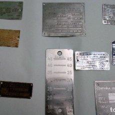 Antigüedades: LOTE DE PLACAS DE MOTORES Y MAQUINARIA. Lote 111187887