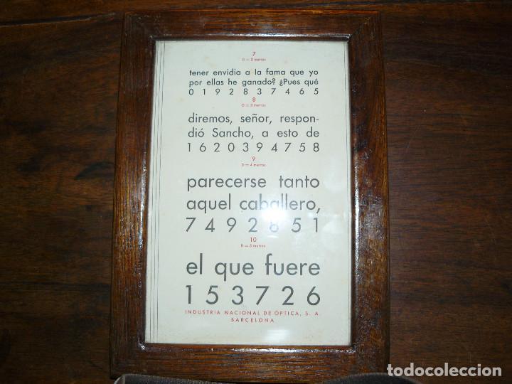 ANTIGUA TABLA OPTOMÉTRICA - I.N.D.O.- INDUSTRIA NACIONAL DE ÓPTICA, S.A. BARCELONA (Antigüedades - Técnicas - Otros Instrumentos Ópticos Antiguos)