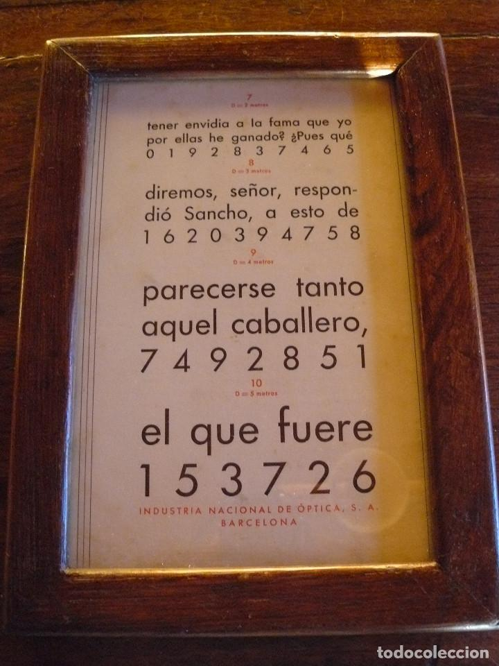 Antigüedades: ANTIGUA TABLA OPTOMÉTRICA - I.N.D.O.- INDUSTRIA NACIONAL DE ÓPTICA, S.A. BARCELONA - Foto 2 - 111591455